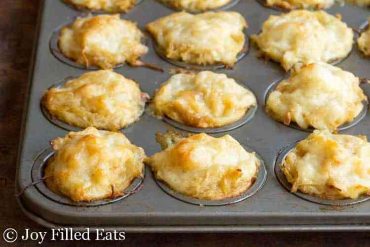 French Onion Tartlets baked in the mini muffin pan