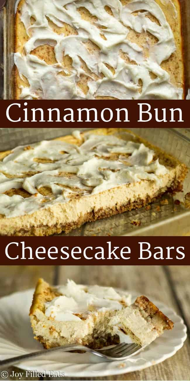 Cinnamon Bun Cheesecake Bars - Low Carb, Grain Free, THM S