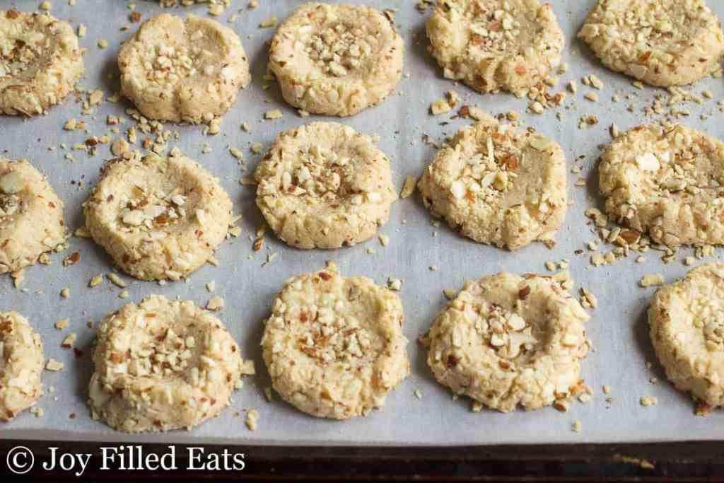 Almond Crunch Chocolate Thumbprint Cookies - Low Carb, Sugar & Grain Free, THM S