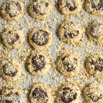 Almond Crunch Chocolate Thumbprint Cookies