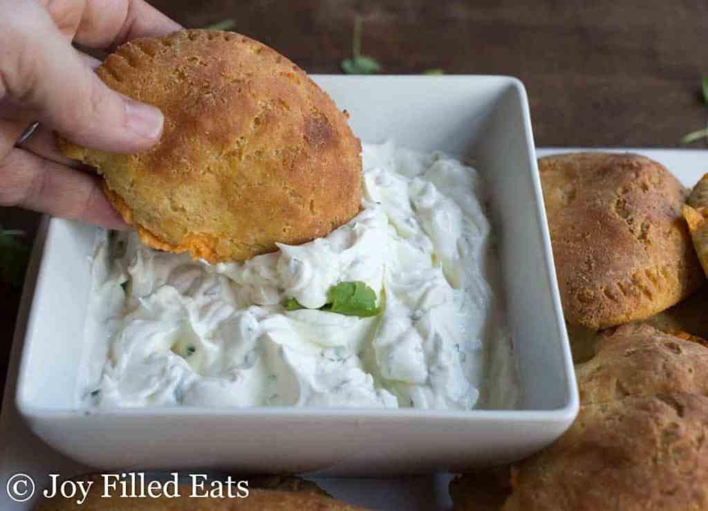 Spicy Chicken & Cheddar Empanadas with Cilantro Sour Cream - Low Carb, Grain Free, THM S