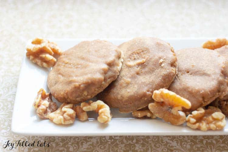 close up of the finished maple walnut cookies