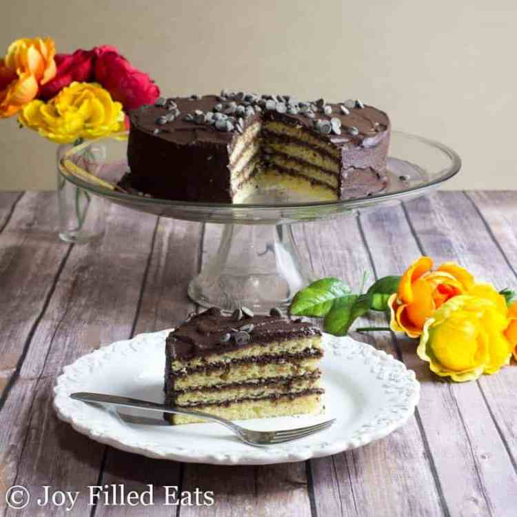 Classic Yellow Keto Cake with Chocolate Icing on a white plate