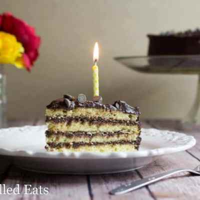Keto Cake Classic Yellow Birthday Cake with Chocolate Icing