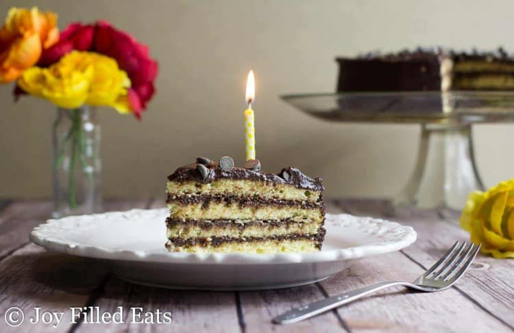 a slice of birthday cake on a white plate with a lit candle