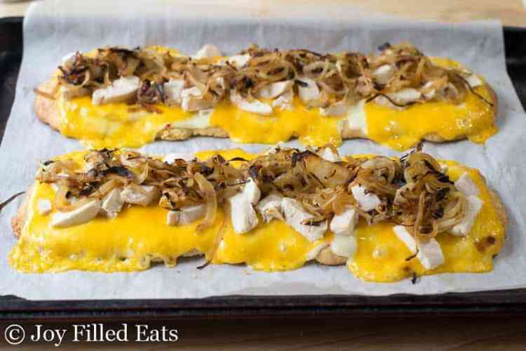 Baked Zesty Chicken & Onion Low Carb Flatbread on parchment