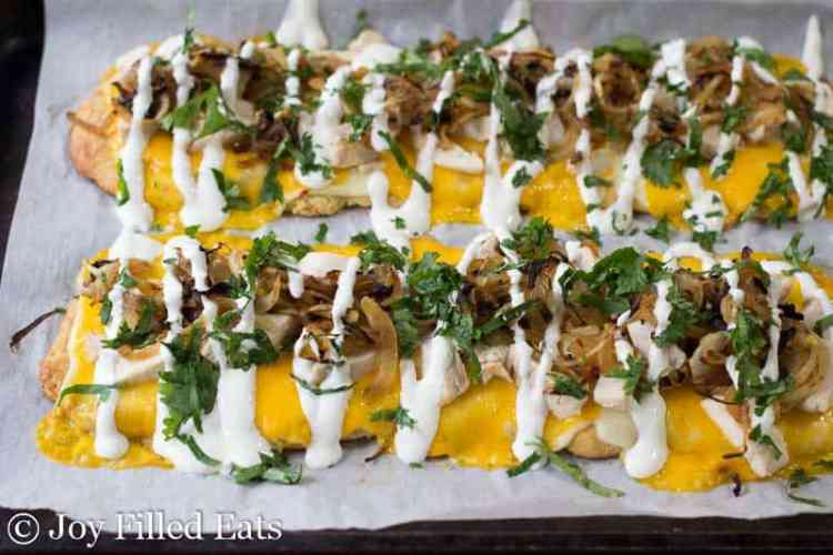 Zesty Chicken & Onion Low Carb Flatbread drizzled with lime crema