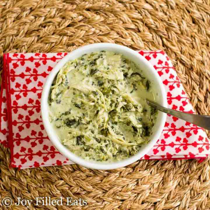 Chicken Florentine Soup in a bowl with a spoon