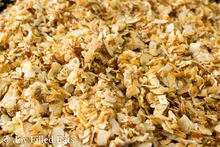 close up of the low carb granola on a cookie sheet