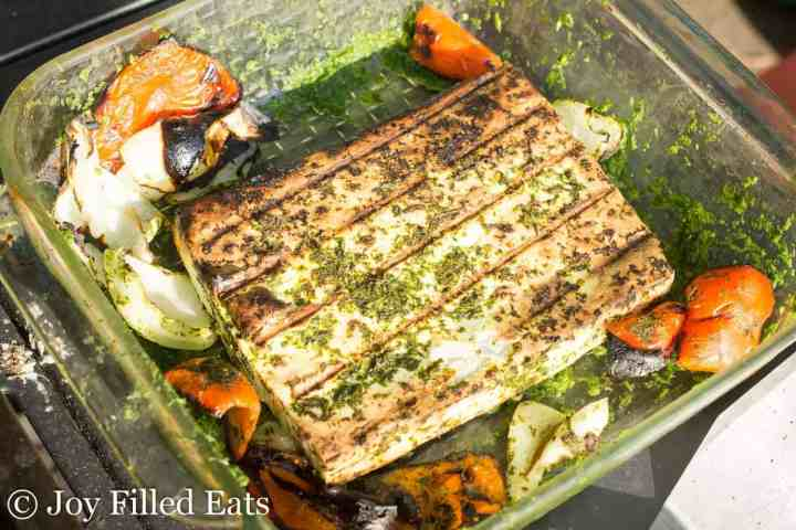 The grilled cheese and vegetables