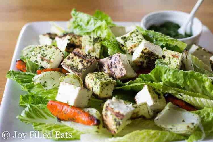 This Grilled Paneer Salad recipe on a white platter