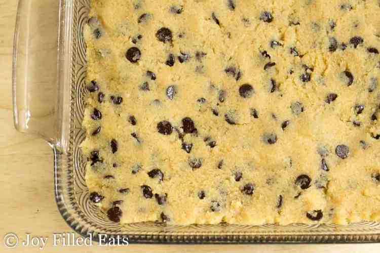 Overhead shot of the cookie dough topped brownies