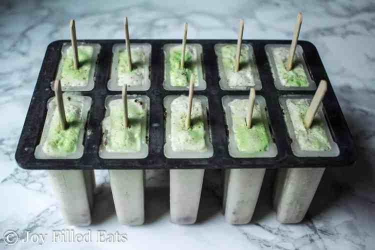 Mint Chocolate Chip Ice Cream Bars - Low Carb, Low Fat, THM FP, Sugar Grain Gluten Free