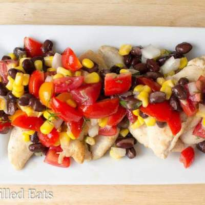 Cumin Rubbed Chicken with Black Bean & Corn Salsa – Low Fat, Healthy Carb, THM E