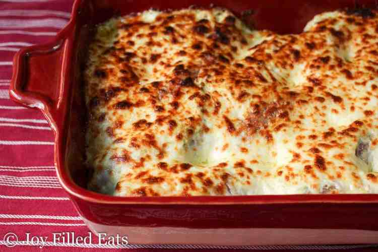 Baked Sausage casserole in the casserole dish with browned mozzarella cheese
