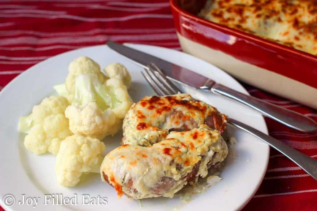 Creamy Basil Baked Sausage - 5 Ingredients, Low Carb, Grain Gluten Free, THM S