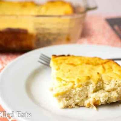 Roasted Garlic Cauliflower Souffle Low Carb Keto THM