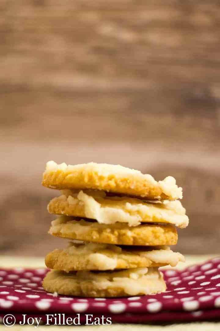 Iced Vanilla Cookies on a polka dot cloth napkin