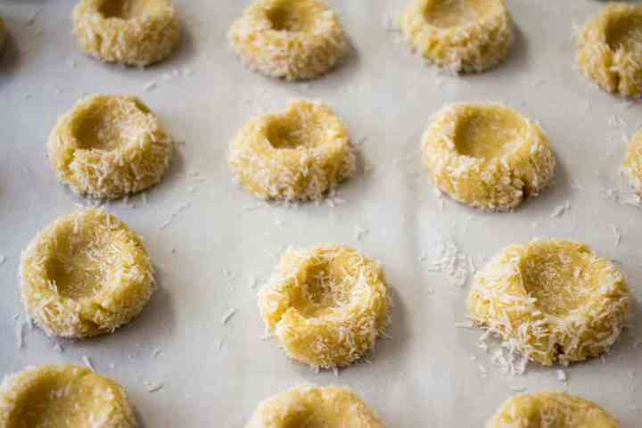 Low Carb Jam Thumbprint Cookies waiting to be baked