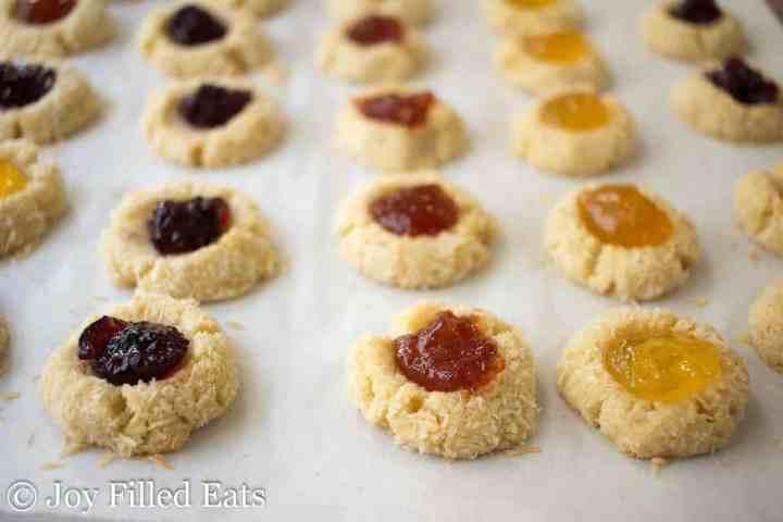 Low Carb Jam Thumbprint Cookies - Sugar Gluten Egg & Grain Free, THM S
