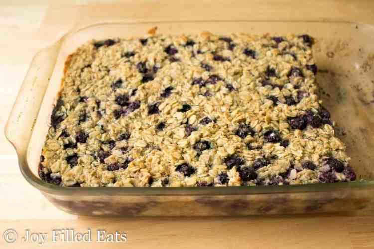 Healthy Baked Oatmeal in a glass baking dish