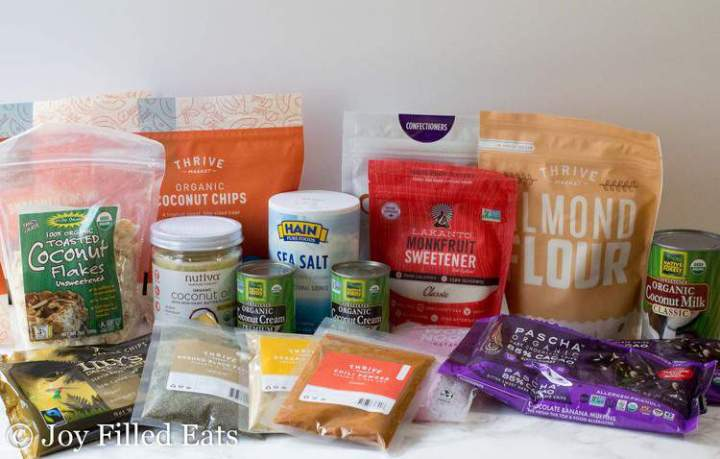 assorted products purchased with a thrive market coupon