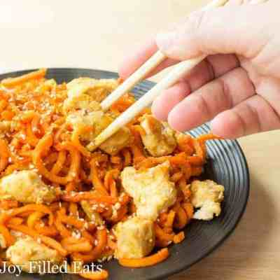 Sweet Ginger Chicken with Carrot Noodles – Paleo, THM