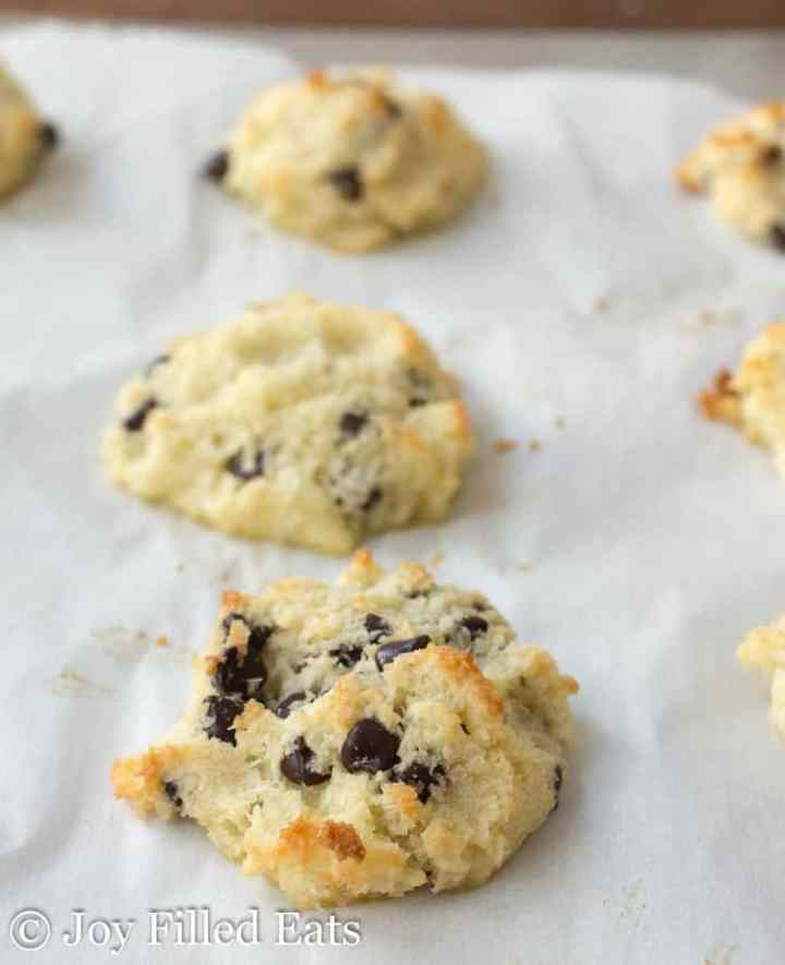 Baked chocolate chip easy macaroons on a cookie sheet