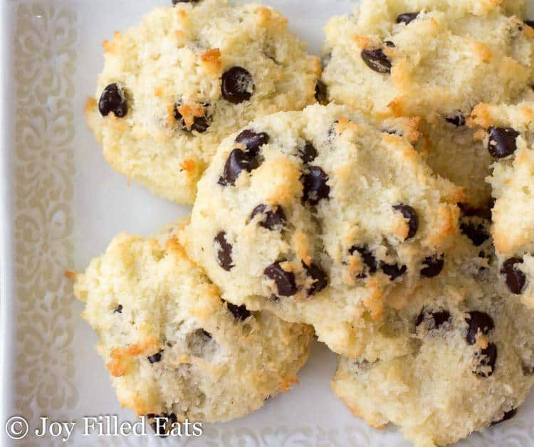 Easy Coconut Macaroons with chocolate chips on a white plate.