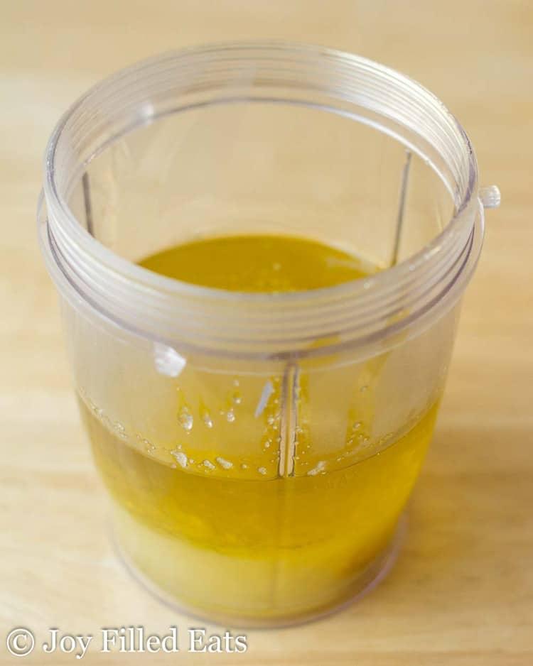 lemon garlic dressing in a blender