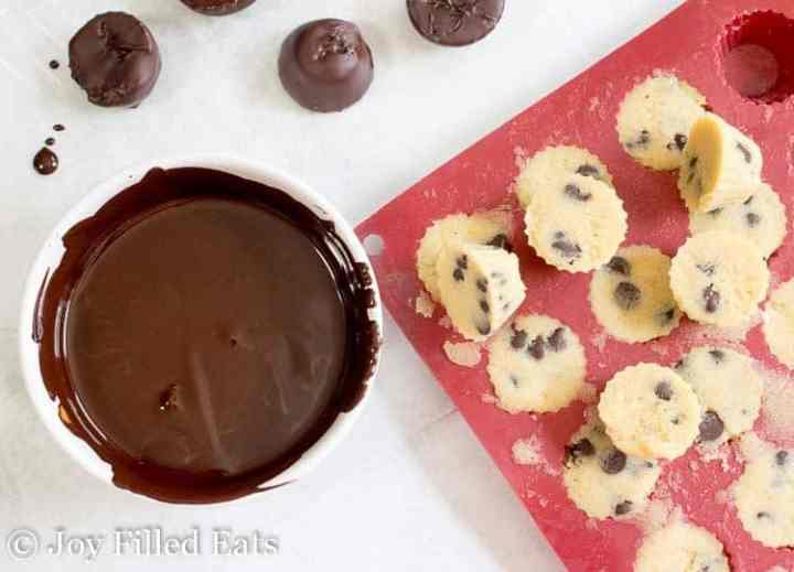 Frozen Cookie Dough Bites and a bowl of chocolate