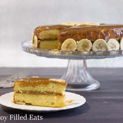 Easy Banana Cake Recipe w/Caramel Frosting Keto THM