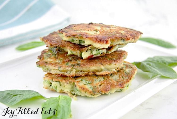 stack of the Spinach Feta Savory Pancakes