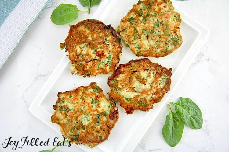 Spinach Feta Savory Pancakes on a white plate