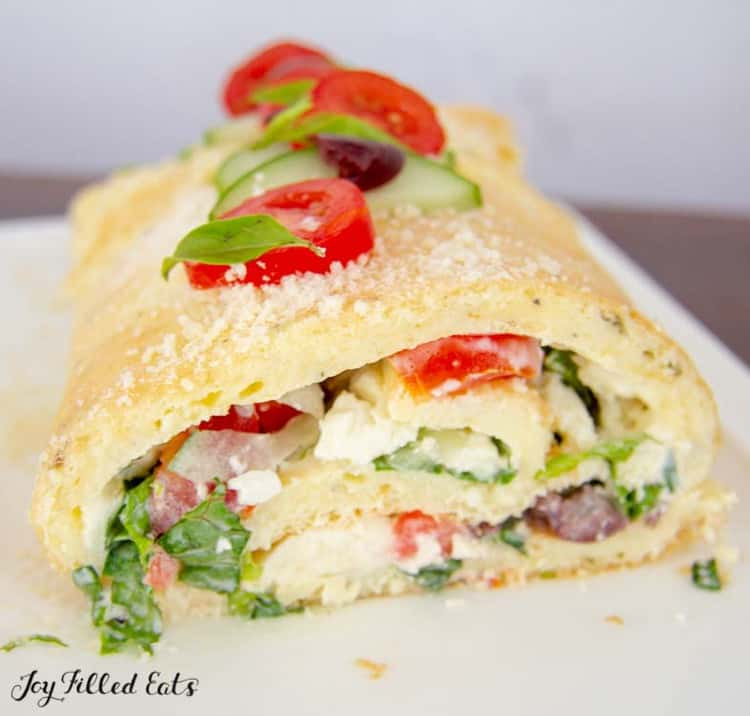 close up of the greek salad roulade