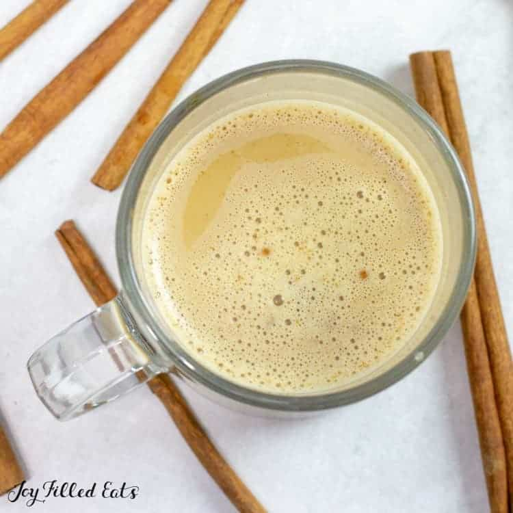 Snickerdoodle Latte in a glass mug