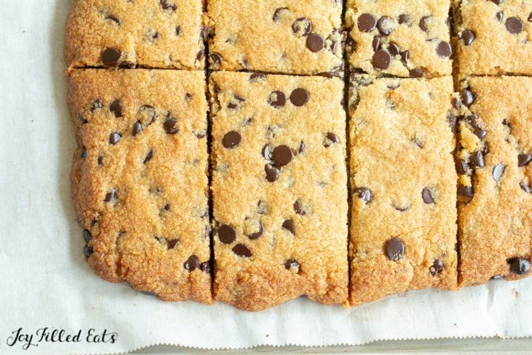 close up of the cut chocolate chip cookie bars