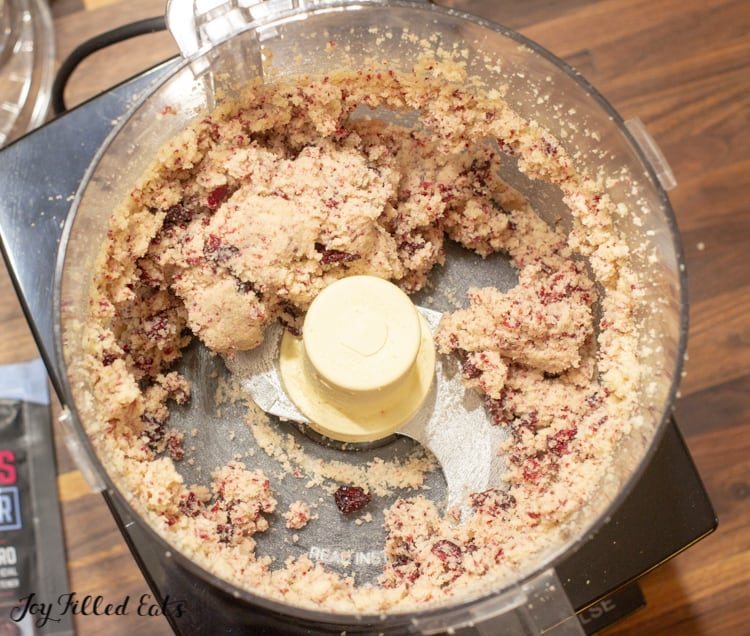 the mixed dough for the cranberry cookies in the food processor