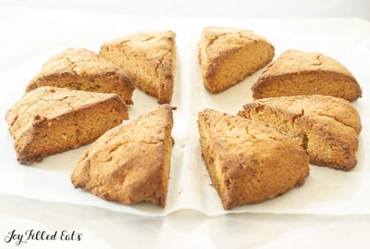 baked scones on parchment