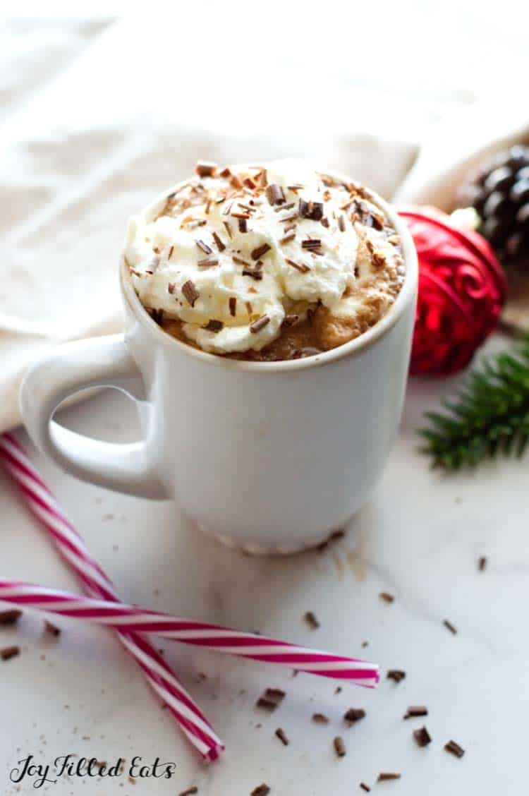 mug of Peppermint Mocha Recipe topped with whipped cream and shaved chocolate