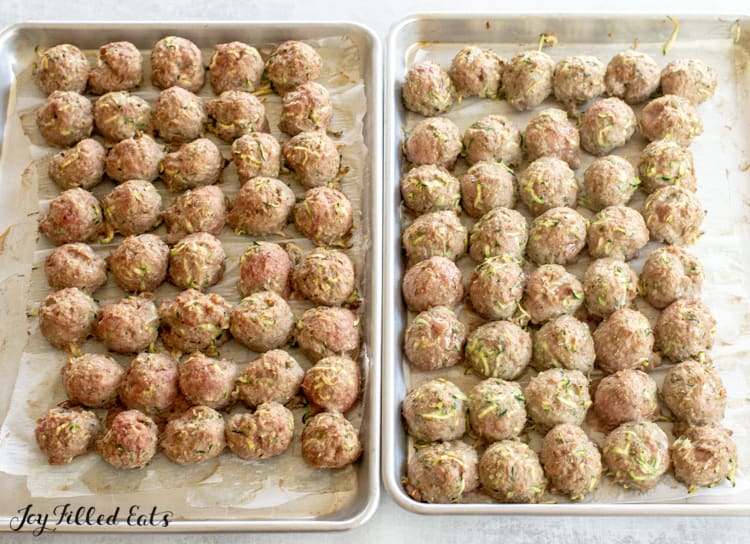 81 cooked baked turkey meatballs on baking sheets