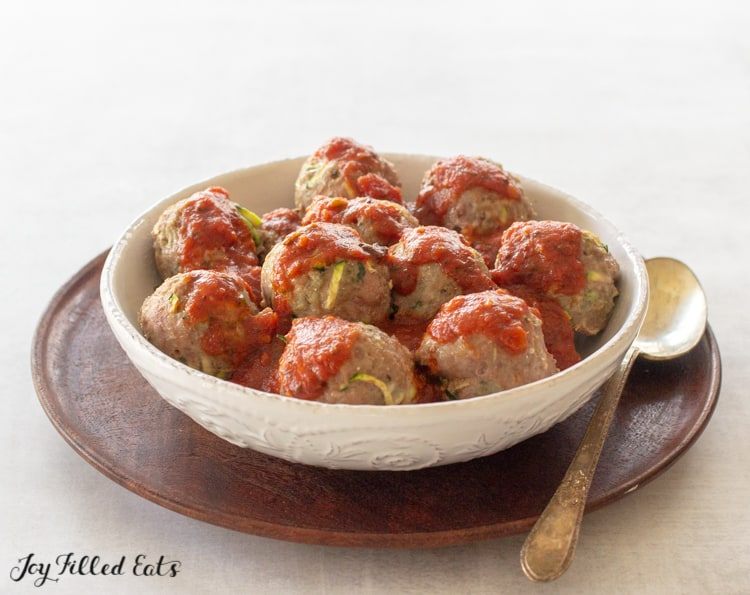 bowl of baked turkey meatballs paleo low carb and keto