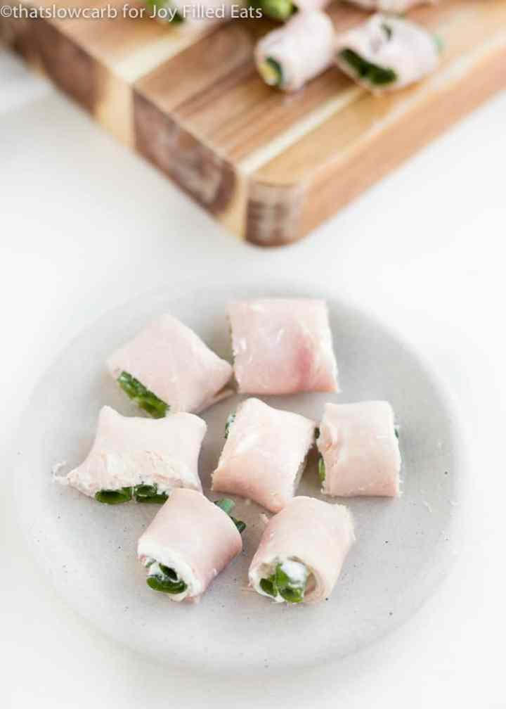 Ham Roll Ups on a small white plate