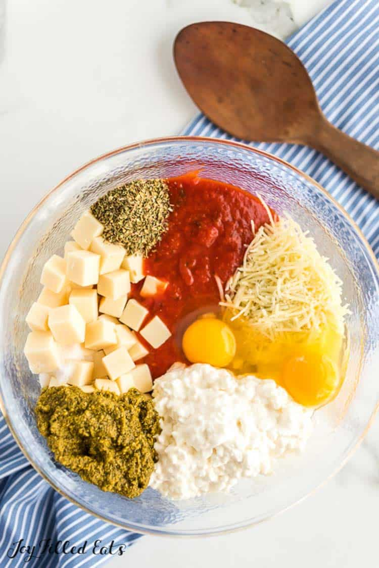ingredients for the ground turkey meatloaf in a clear glass bowl