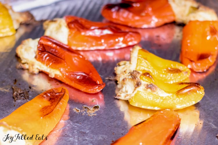 mini stuffed peppers without rice on a baking sheet