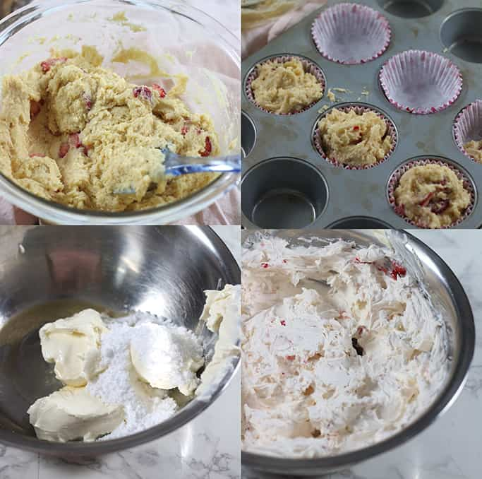 Steps showing how to make low carb sour cream cupcakes