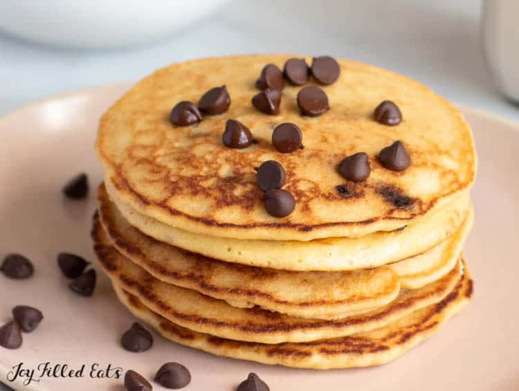 a stack of chocolate chip pancakes on a plate