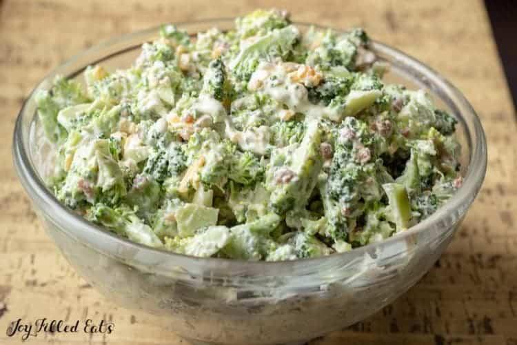a glass bowl of healthy broccoli salad