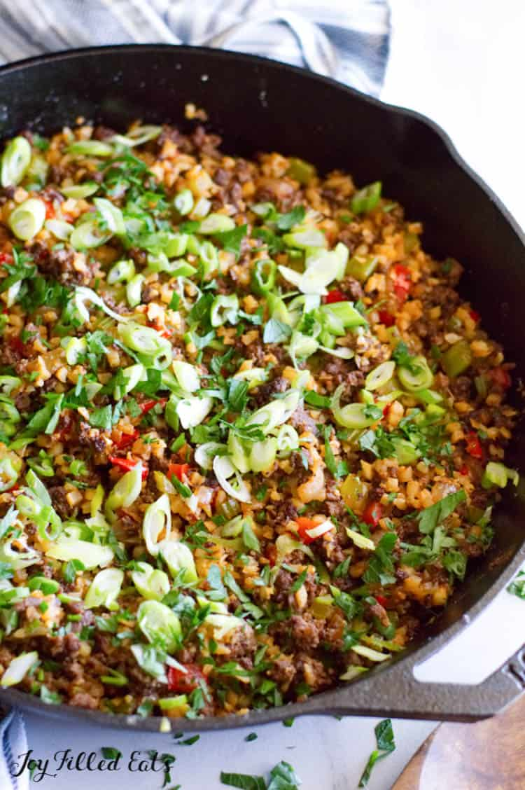 the cooked dirty rice with venison in the large skillet