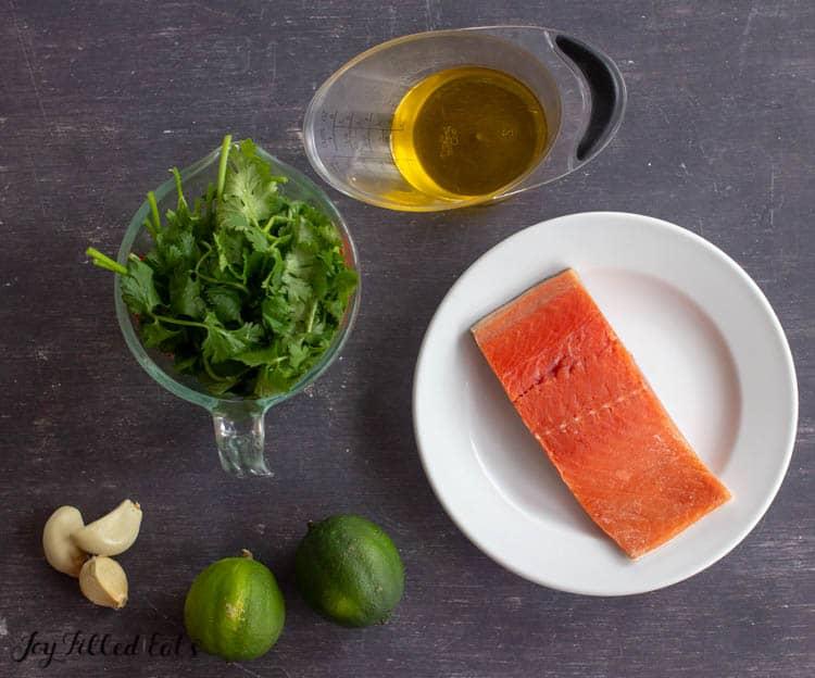 ingredients for the pesto salmon recipe